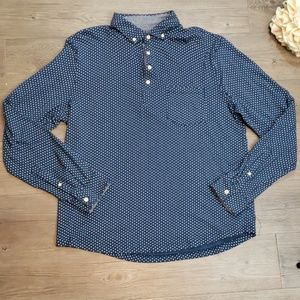 Navy Blue with White Polkadots Button Down Shirt